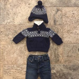 3 pc set Gymboree Sweater, Toque and Skinny Jeans